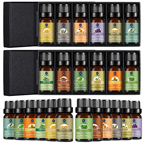 Lagunamoon Essential Oils Set, 12 Pcs Premium Aromatherapy Oils Set Includes Lavender, Tea Tree, Peppermint, Lemongrass, Orange, Rosemary, Frankincense, Lemon, Cinnamon, and Ylang-Ylang - 10ml