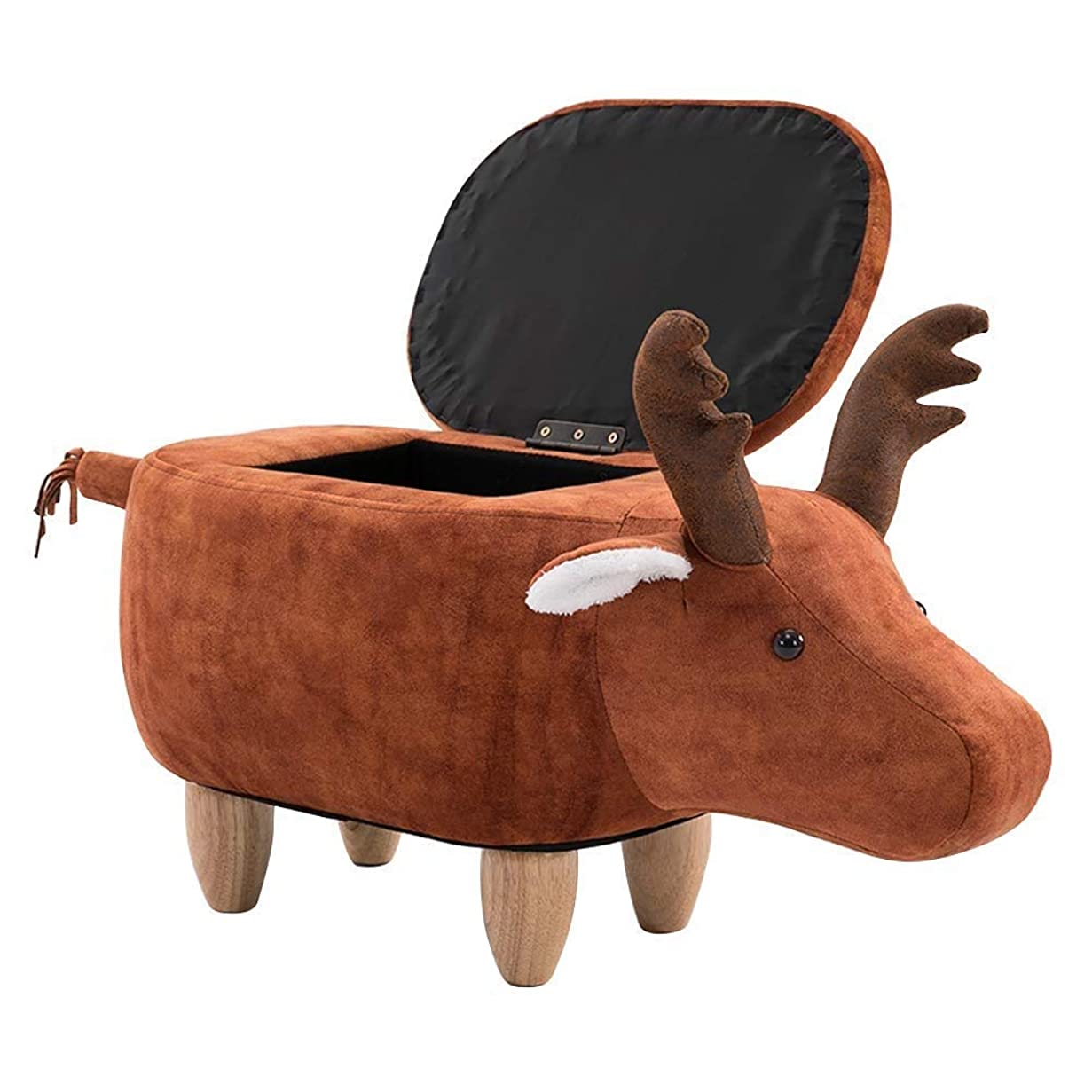なだめる吐き出すアマゾンジャングル漫画エルク形状収納スツールオットマン 足置き フットスツール なかわいいクリエイティブデザインリビングルームソファベンチオスマンは乗ることができます子供たちへ贈り物 (オレンジ色)