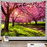 Batmerry Tapestry Tree, Japanese Flower Garden Outdoor Picnic Mat Hippie Trippy Tapestry Wall Art Meditation Decor for Bedroom Living Room Dorm, 51.2 x 59.1 Inches, Green