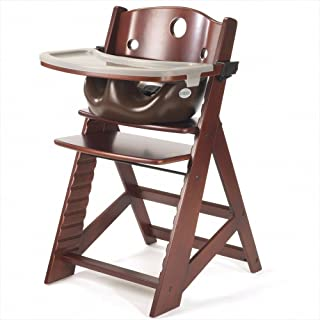 Keekaroo Height Right Highchair with Insert & Tray - Chocolate - Mahogany Base