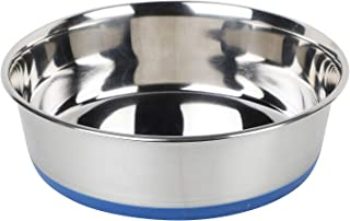 Naaz Pet Dog Bowl Blue Export Quality with 100% Silicon Bonded Rubber Stainless Steel Dog Food Bowls Feeder Bowls Pet Bowl...