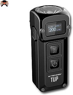 Nitecore TUP 1000 Lúmenes LED - Llavero Linterna Recargable USB - con Bateria Integrada y Pantalla OLED, 54 g [ Negra ]