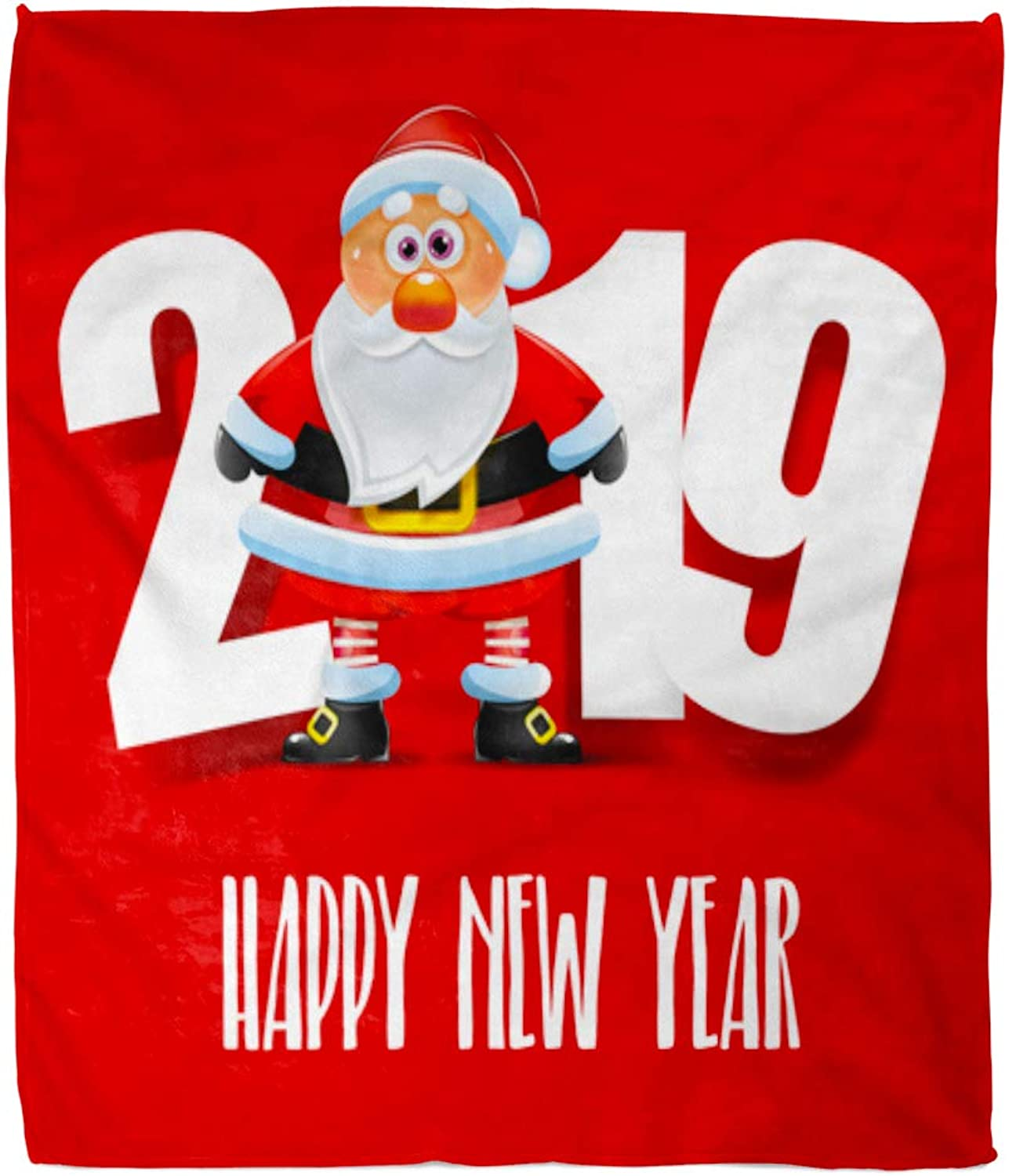 Emvency Decorative Throw Blanket 50 x 60 Inches Red Christmas Santa Claus Happy New Year Greeting Warm Flannel Soft Blanket for Couch Sofa Bed