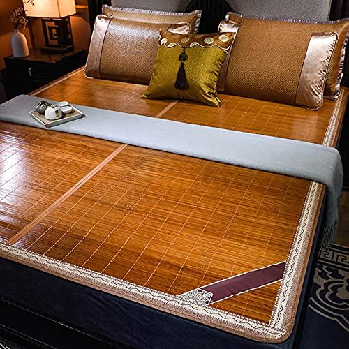 Colchoneta para Bamboo Colchón,Esterilla de Bambú de Hielo,Genial?Transpirable Plegable Uso de Doble Cara Ropa Cama Casa Dormitorio Esterade Bambú Colchoneta para Dormir de Verano (1.5x1.95m)