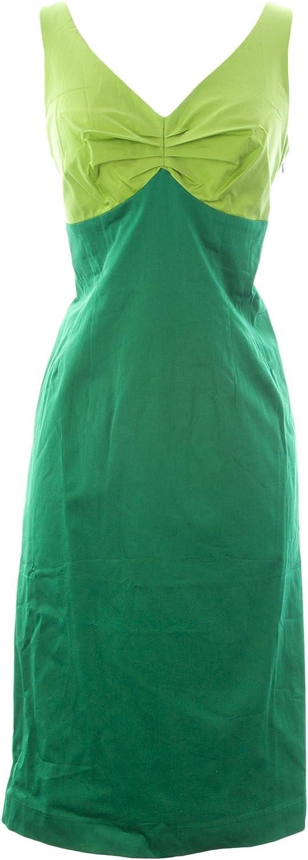 BODEN Women's Colourblock Dress US Sz 8L Green Lime