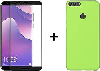 TBOC Förpackning: TPU silikongelväska + svart 5D skärmskydd för Huawei Y7 [2018] - Y7 Prime [2018] - Honor 7C, gRÖN