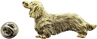 Long Haired Dachshund Pin ~ 24K Gold ~ Lapel Pin