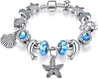 European Ocean Beach Charm Beaded Bracelets for Women with Seashell Turtle Starfish Dolphin Charms 7.1inches