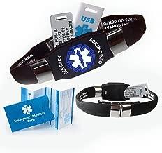 Waterproof Elite Plus USB Medical ID Bracelet, 2 GB USB, 10 Lines Engraving - (Black)