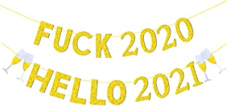 JOZON Gold Glittery Farewell 2020 Hello 2021 Banner New Year Garland New Years Eve Signs New Year Party Supplies for Mantl...
