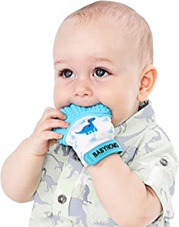 BabyNoms Teething Mitten   The Original Teething Paw   Best Silicone Teething Toys or Teething Ring Provides Self-Soothing Teething Relief   Dino Blue Teether