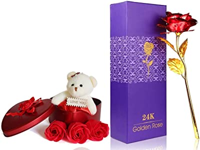 Saugat Traders Artificial Red Golden Rose & 3 Red Rose with Teddy Bear-Love Gift for Wife-Girlfriend-Girls