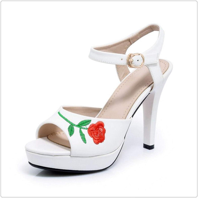 Msanlixian Size 32-42 Retro Women Platform High Heel Sandals Women Ankle Strap Flower Thin Heel Sandals Women Summer Club shoes White 9