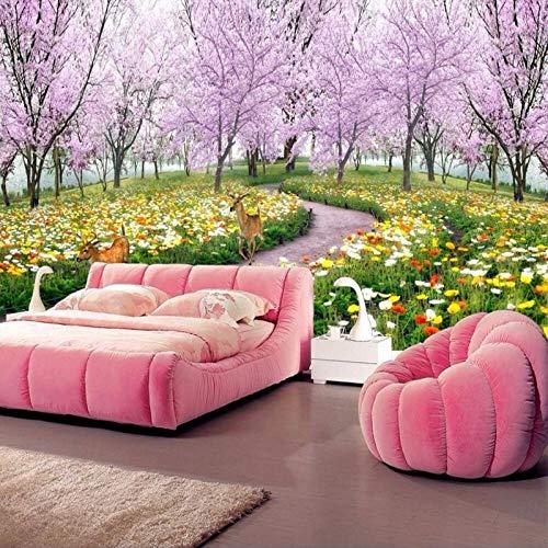Behang fotobehang aangepaste muurschildering ruimte uitbreiding fabriek serie wallpaper - Pink Cherry Tree en paarse bloem eland Home Decor voor woonkamer bank Tv achtergrond slaapkamer muur decoratie 280cm(W)×180cm(H)