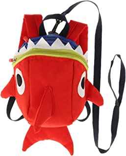 Dolity Boys & Girls Safety Anti-Lost Zippered Shark Strap Bag Outdoor Travel Camping Backpack Schoolbag Blue for Kids - Red