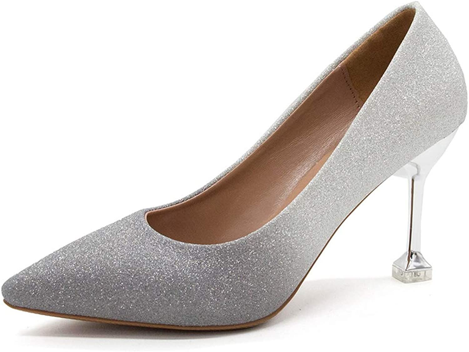 Women's Pump,Sequin Kitten Heel Pointed-Toe Champagne Wedding Party Pumps