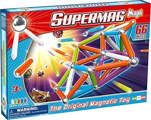 Supermag Toys - 0116 - Maxi Neon Gioco di Costruzioni Magnetico, 66 Pezzi