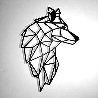 Fotodekora Cabeza de Lobo Escultura de Lineas Negras para Colgar en Pared | Diseño geométrico | Arte de Pared | Animales Origami
