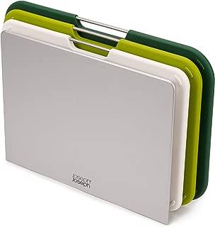 Joseph Joseph 60163 Nest Plastic Cutting Set with Storage Stand 3 Different Sized Boards, Regular, Green