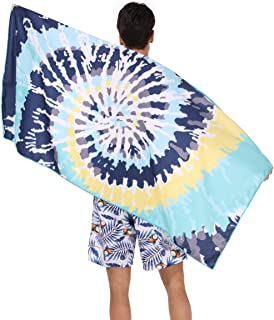 Ricdecor Beach Towels Oversized Large Beach Towel for Kids Boys Tie-Dye Towel Microfibre Beach Towels (Blue Blooming)