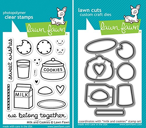 Lawn Fawn Milk And Cookies Clear Stamp and Die Set - Includes One Each of LF725 (Stamp) & LF726 (Die) - Custom Set
