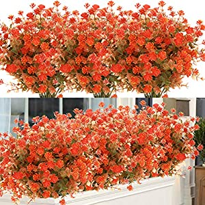 ArtBloom 6 Bundles Artificial Fall Flowers No Fade Faux Autumn Plants, Fake Indoor Outdoor Greenery for Thanksgiving Christmas Wedding Party Home Garden Fireplace Décor (Green Orange)