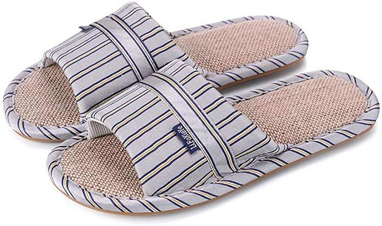 FuweiEncore Men's Casual Flip Flops Household Slippers New Flax Non-slip Outsole Slipper Slipper, B, 40 41 (color   B, Size   43 44)