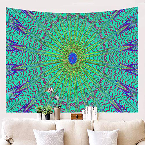Amiiba Bohemian Psychedelic Wall Tapestry Indian Hippie Tapestry Wall Hanging Peacock Mandala Home Decoration for Bedroom Living Room (Bohemian, M - 59'x51')