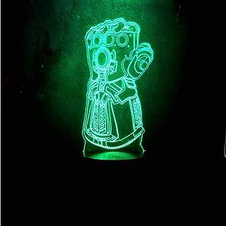 3D Visual LED Night Light Avengers Marvel Comics Infinity Gauntlet Villain Thanos 7 Color Change Remote Control USB Base Battery Powered Home Decor