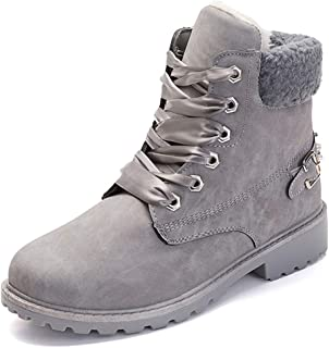 Susanny Women's Warm Snow Boots Ankle Lace up Short Combat Boot Slip on Winter Low Heel Fur Booties