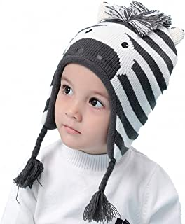 Baby Toddler Boys Winter Hat Earflap Fleece Lined Kid Animal Zebra Knit Beanie Caps Ages 6M-8T