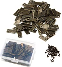 Pyhot 50 Pieces Mini Antique Bronze Hinges Retro Door Hinges with 200 Pieces Replacement Screws for Wooden Cabinet Drawer ...