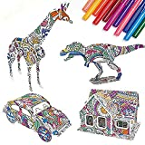 OUTFANDIA 3D Coloring Puzzle Set,IQ Builder, Educational Painting Arts and Crafts Kit,4 Puzzles with 10 Pen Markers,Fun Creative DIY Toys, Gift for Girls and Boys Age 6 7 8 9 10 11 12 Year Old and Up