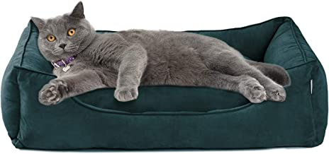 Love's cabin Large Dog Bed with Removable Washable Cover, XL/XXL/XXXL Cuddler Pet Bed for Small Medium Large Dogs & Cats Grey/Green, Padded Cushion Water-Resistant Bottom, Soft & Durable Pet Supplies
