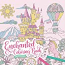 Enchanted Coloring Book for Adults & Teens   8,5 × 8,5 inch  ca. 21,6 x 21,6 cm : Fairytale Castles, Detailed Landscapes, Mythical Creatures and Magical Unicorns   Romantic Fantasy Coloring for Women and Girls
