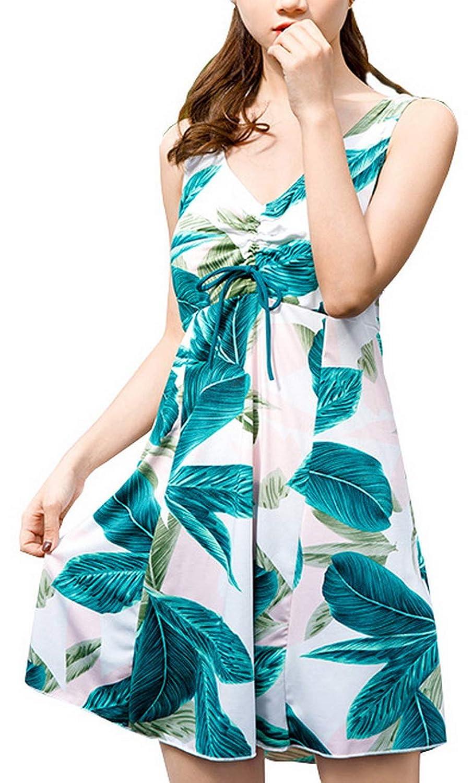 Foucome 水着 レディース 花柄 大きいサイズ ワンピース 体型カバー オールインワン