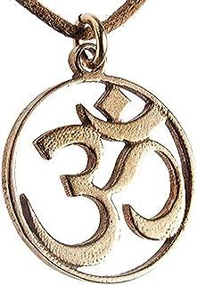 Delicate Om Peace Bronze Pendant Necklace on Adjustable Natural Fiber Cord