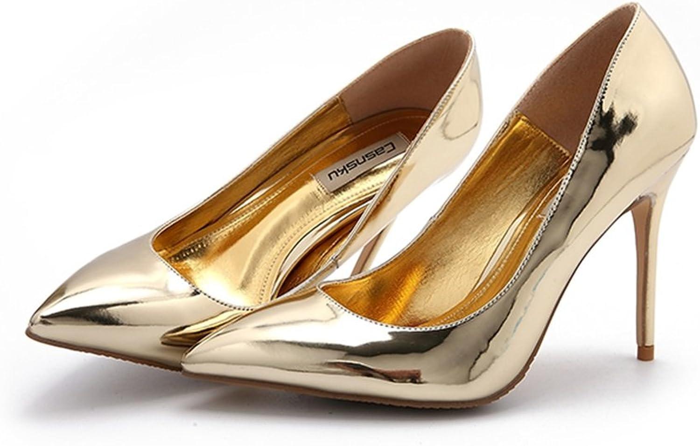 Spitze High Golden Heels sexy High Heels flachen Mund Damenschuhe Sommer Neue Single Schuhe Ultra-feine einzelne Schuhe Hochzeit Schuhe (Farbe   Gold-10cm, Größe   38)