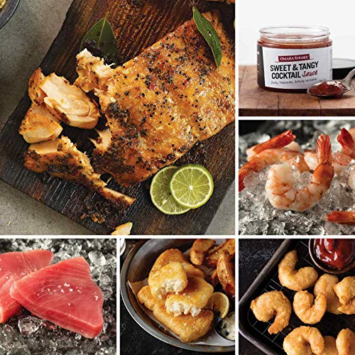 Seafood Favorites Assortment from Omaha Steaks (Marinated Salmon Fillets, Yellowfin Tuna Steaks, Pub-Style Cod, Redhook Ale Beer-Battered Shrimp, Jumbo Cooked Shrimp, and Sweet & Tangy Cocktail Sauce)