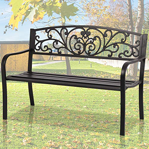 Mental Lutyens Garden Bench Outdoor Bench Patio Bench Wrought Iron Bench Front Porch Bench Park Bench Outdoor Furniture Steel Frame Benches Clearance, 50 Inch Black