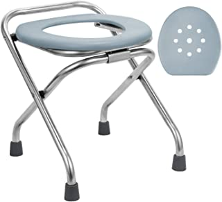 BLIKA Stainless Steel Folding Commode Portable Toilet Seat, Commode Chair with Lid, Toilet Seat Converts into Folding Stool Perfect for Camping, Hiking, Trips, Construction Sites, Steam Seat