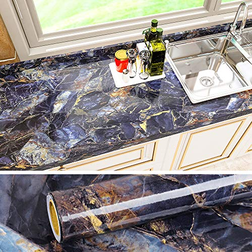 VEELIKE 15.7''x236'' Navy Blue Marble Contact Paper for Countertops Waterproof Peel and Stick Removable Granite Wallpaper Decorative Vinyl Wall Paper for Counter Top Cabinets Bathroom Kitchen Bedroom