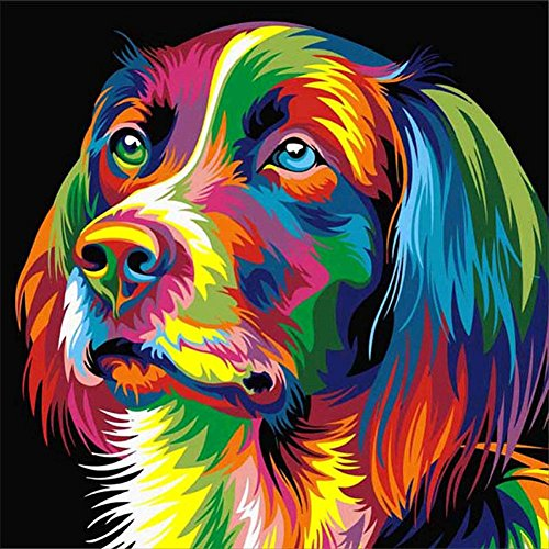 MXJSUA DIY 5D Diamond Painting Kits Round Drill Crystal Rhinestone Pictures Arts Craft Home Wall Decor Gift Colored Dog 12x12in
