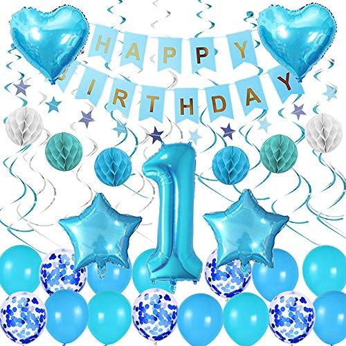 Happyhours 1 Jahr Geburtstagsdeko Junge Blau, Happy Birthday Girlande Luftballons Blau Konfetti Helium Set, Folienballon Zahl 1, Wabenbälle Pompons und Wimpelkette Kindergeburtstag Deko