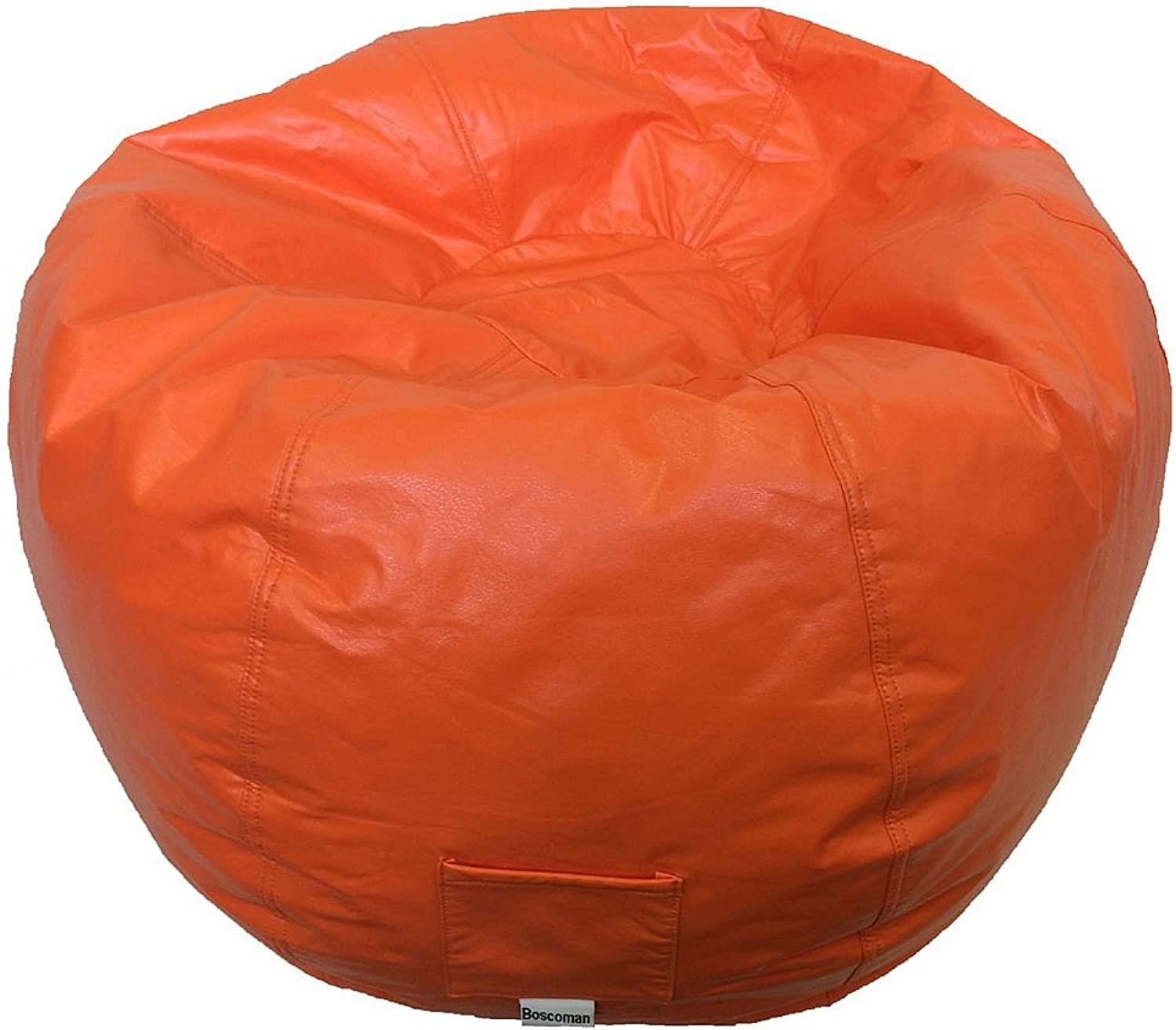 Boscoman - Adult Round Vinyl With Pocket Beanbag Chair - orange (BOX M)