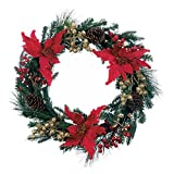 Zingz & Thingz Faux Poinsettia Christmas Wreath Door Décor