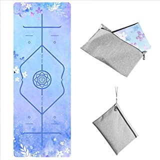 """PIDO Home Gym Yoga Mat Natural Rubber Non Slip Gym Mat with Canvas Bag,72""""x26"""" Foldable 1/16 Inch Portable Mat for Yoga Pi..."""