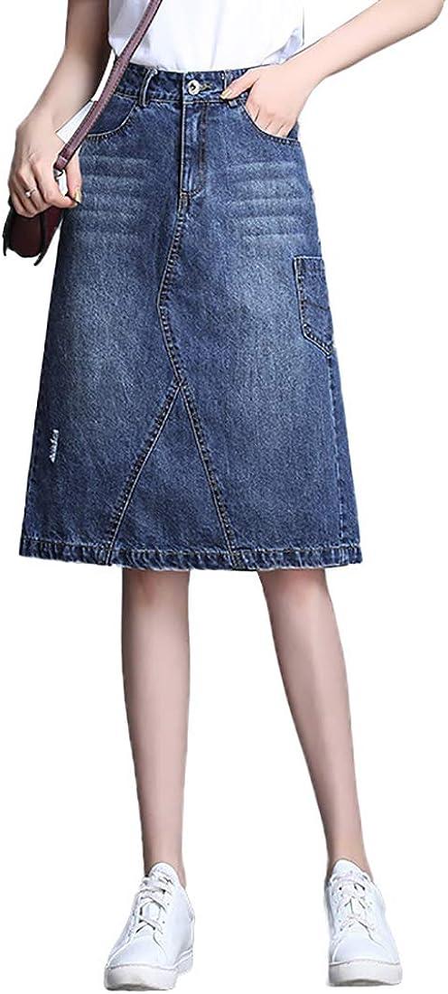 Nantersan Womens Button Front Midi Denim Jean Skirts High Waist A-Line Flare Pleated Chic Skirt