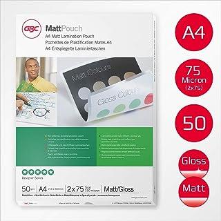 GBC Matt/Gloss Laminating Pouches 2 x 75 Micron A4 - Pack of 50