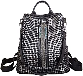 Colorful Chain Retro Backpack Female Wild Diamond Studded Soft Leather. (Color : Silver, Size : 30 * 16 * 32cm)